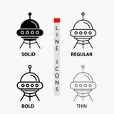 διαστημικό σκάφος, διάστημα, σκάφος, πύραυλος, αλλοδαπό εικονίδιο στη λεπτά, κανονικά, τολμηρά γραμμή και το ύφος Glyph r απεικόνιση αποθεμάτων