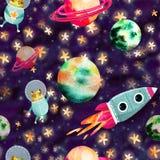 Διαστημικό σχέδιο με τους πλανήτες και τον πύραυλο ελεύθερη απεικόνιση δικαιώματος