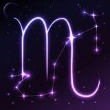 Διαστημικό σύμβολο Σκορπιού zodiac και ωροσκοπίων της έννοιας, της διανυσματικών τέχνης και της απεικόνισης Στοκ Εικόνα