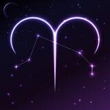 Διαστημικό σύμβολο Aries zodiac και ωροσκοπίων της έννοιας, της διανυσματικών τέχνης και της απεικόνισης Στοκ Εικόνα
