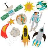 Διαστημικό σύνολο, πανσέληνος, φλεμένος μετεωρίτης, γήινος δορυφόρος, αστροναύτης, πύραυλος, γήινος πλανήτης, ήλιος, σχέδιο θέματ απεικόνιση αποθεμάτων
