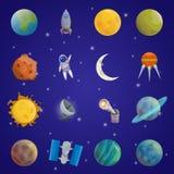 Διαστημικό σύνολο εικονιδίων κόσμου ελεύθερη απεικόνιση δικαιώματος