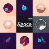Διαστημικό τοπίο: αστέρια, πλανήτες, κομήτης, ufo, διανυσματικά επίπεδα απεικονίσεις αισθήσεων μαγείας και υπόβαθρο Διανυσματικό  Στοκ Εικόνες