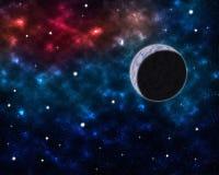Διαστημικό τοπίο με τις σκόνες νεφελώματος πλανητών σφαιρών και τα σύννεφα και τα καμμένος αστέρια στον αστρολογικό ουράνιο γαλαξ Στοκ εικόνα με δικαίωμα ελεύθερης χρήσης