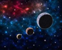 Διαστημικό τοπίο με τις σκόνες νεφελώματος πλανητών σφαιρών και τα σύννεφα και τα καμμένος αστέρια στον αστρολογικό ουράνιο γαλαξ Στοκ Εικόνες