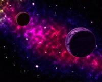 Διαστημικό τοπίο με τις σκόνες νεφελώματος πλανητών σφαιρών και τα σύννεφα και τα καμμένος αστέρια στον αστρολογικό ουράνιο γαλαξ Στοκ φωτογραφία με δικαίωμα ελεύθερης χρήσης
