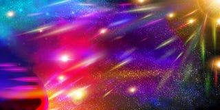 Διαστημικό υπόβαθρο με τους πλανήτες, τη αίσθηση μαγείας και τους μετεωρίτες Στοκ Φωτογραφίες