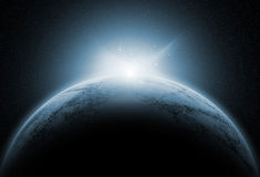 Διαστημικό υπόβαθρο με τους πλασματικούς πλανήτες ελεύθερη απεικόνιση δικαιώματος