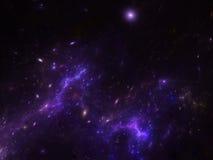Διαστημικό υπόβαθρο με το νεφέλωμα και τους γαλαξίες Στοκ Εικόνα