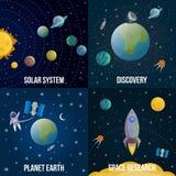Διαστημικό χρωματισμένο κόσμος σύνολο εικονιδίων ελεύθερη απεικόνιση δικαιώματος