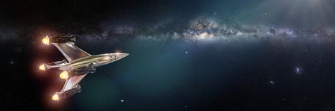 Διαστημόπλοιο μπροστά από το γαλακτώδη γαλαξία τρόπων Στοκ φωτογραφία με δικαίωμα ελεύθερης χρήσης