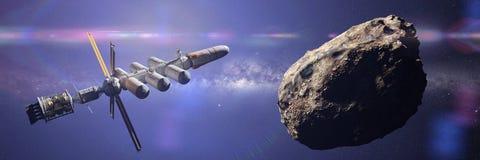 Διαστημόπλοιο που πλησιάζει την αστεροειδή, νάνα αποστολή πλανητών, βαθύ έμβλημα απεικόνισης επιστημονικής φαντασίας εξερεύνησης  διανυσματική απεικόνιση