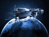 Διαστημόπλοιο με το πλανήτη Γη απεικόνιση αποθεμάτων