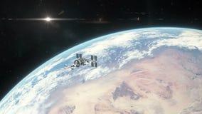 Διαστημόπλοιο που αφήνει τη γήινη τροχιά διανυσματική απεικόνιση