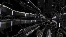 Διαστημόπλοιο που πετά από έναν φουτουριστικό διαστημικό σταθμό απεικόνιση αποθεμάτων