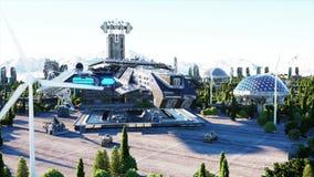 Διαστημόπλοιο σε μια φουτουριστική πόλη, κωμόπολη Η έννοια του μέλλοντος εναέρια όψη Έξοχη ρεαλιστική 4K ζωτικότητα φιλμ μικρού μήκους