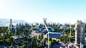 Διαστημόπλοιο σε μια φουτουριστική πόλη, κωμόπολη Η έννοια του μέλλοντος εναέρια όψη Έξοχη ρεαλιστική 4K ζωτικότητα ελεύθερη απεικόνιση δικαιώματος