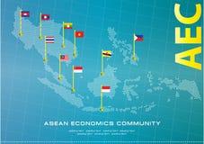 Διαστιγμένη απεικόνιση ύφους της ASEAN χάρτης, για το υπόβαθρο διανυσματική απεικόνιση