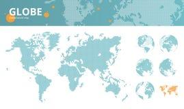 Διαστιγμένος επιχείρηση παγκόσμιος χάρτης με τα χαρακτηρισμένες οικονομικές κέντρα και γήινες τις σφαίρες απεικόνιση αποθεμάτων