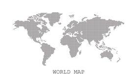 Διαστιγμένος κενός μαύρος παγκόσμιος χάρτης που απομονώνεται στο άσπρο υπόβαθρο απεικόνιση αποθεμάτων