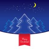 Διαστιγμένος πέντε χριστουγεννιάτικα δέντρα με το φεγγάρι και τα αστέρια στο μπλε υπόβαθρο Στοκ φωτογραφία με δικαίωμα ελεύθερης χρήσης
