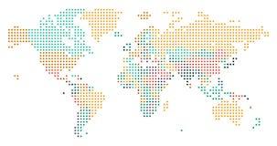Διαστιγμένος παγκόσμιος χάρτης με τα σύνορα χωρών απεικόνιση αποθεμάτων
