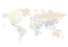 Διαστιγμένος παγκόσμιος χάρτης των τετραγωνικών σημείων διανυσματική απεικόνιση