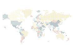 Διαστιγμένος παγκόσμιος χάρτης των τετραγωνικών σημείων ελεύθερη απεικόνιση δικαιώματος