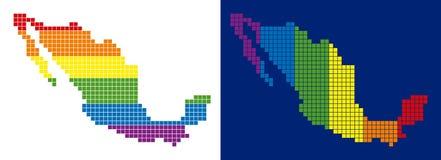 Διαστιγμένος χάρτης του Μεξικού φάσματος εικονοκύτταρο απεικόνιση αποθεμάτων