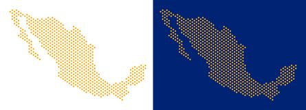 Διαστιγμένος χάρτης του Μεξικού διανυσματική απεικόνιση
