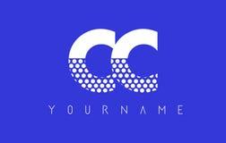 Διαστιγμένο σχέδιο λογότυπων επιστολών των CC Γ Γ με το μπλε υπόβαθρο στοκ εικόνες