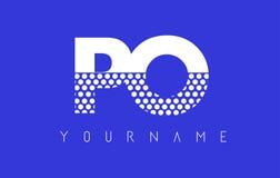 Διαστιγμένο σχέδιο λογότυπων επιστολών PO Π Ο με το μπλε υπόβαθρο Στοκ Εικόνα