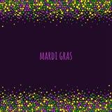 Διαστιγμένο gras σχέδιο της Mardi με το διάστημα για το κείμενο Ζωηρόχρωμα σημεία του διάφορου μεγέθους στο σκοτεινό πορφυρό υπόβ Στοκ εικόνα με δικαίωμα ελεύθερης χρήσης