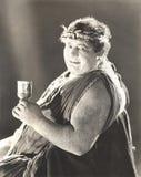Διαστισμένο άτομο στο κοστούμι αρχαίου Έλληνα Στοκ Φωτογραφίες