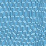 Διαστρεβλωμένο τρισδιάστατο σχέδιο κύβων Μπλε άνευ ραφής σχέδιο Στοκ Εικόνα