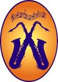 διασχισμένα saxophones δύο Στοκ φωτογραφίες με δικαίωμα ελεύθερης χρήσης