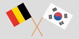 Διασχισμένες σημαίες Νότια Κορέα και Βέλγιο Επίσημα χρώματα Σωστή αναλογία διάνυσμα στοκ φωτογραφίες με δικαίωμα ελεύθερης χρήσης