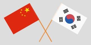 Διασχισμένες σημαίες Νότια Κορέα και Κίνα Επίσημα χρώματα Σωστή αναλογία διάνυσμα στοκ φωτογραφία με δικαίωμα ελεύθερης χρήσης