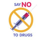 Διασχισμένη σύριγγα με τη ναρκωτική ουσία διανυσματική απεικόνιση