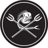 Διασχισμένος κύκλος λογχών δελφινιών Mahi Mahi κρανίων ψάρια αναδρομικός ελεύθερη απεικόνιση δικαιώματος
