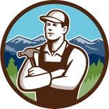 Διασχισμένος όπλα κύκλος σφυριών ξυλουργών αναδρομικός ελεύθερη απεικόνιση δικαιώματος