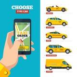 Διαταγή ταξί σε απευθείας σύνδεση smartphone εκμετάλλευσης χεριών και διάφορος τύπος άποψης ταξί Ελεύθερη απεικόνιση δικαιώματος