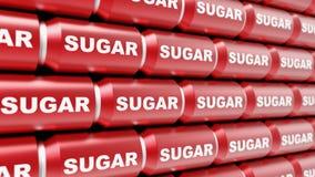 Διαταγμένη σειρά επονομαζόμενων ζάχαρη δοχείων σόδας Στοκ εικόνες με δικαίωμα ελεύθερης χρήσης