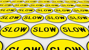 Διαταγμένη σειρά κίτρινων αργών σημαδιών απεικόνιση αποθεμάτων
