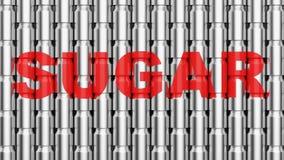 Διαταγμένος τοίχος των δοχείων αργιλίου με την ετικέτα ζάχαρης απεικόνιση αποθεμάτων