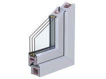 Διατομή μέσω ενός σχεδιαγράμματος PVC παραθύρων τρισδιάστατος δώστε, απομονωμένος στο άσπρο υπόβαθρο Στοκ Φωτογραφίες