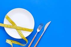 Διατροφή για την έννοια απώλειας βάρους Κατάλληλη διατροφή Ιατρικός λιμός Κενό πιάτο με το δίκρανο και μαχαίρι που μετρά πλησίον  στοκ εικόνα με δικαίωμα ελεύθερης χρήσης