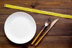 Διατροφή για την έννοια απώλειας βάρους Κατάλληλη διατροφή Ιατρικός λιμός Κενό πιάτο με το δίκρανο και μαχαίρι που μετρά πλησίον  στοκ εικόνες με δικαίωμα ελεύθερης χρήσης