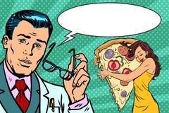 Διατροφή και γυναίκα γιατρών με την πίτσα Στοκ Φωτογραφία