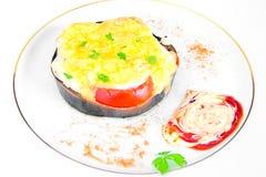 Διατροφή και υγιεινά τρόφιμα: Αργή μελιτζάνα με στοκ φωτογραφία